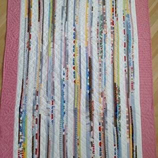 Hemvävt, täcke av matttrasor, 115x159